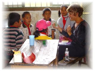 Claudia teaches praise songs to Chinese children in western China