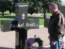 Paying respects at Rachel Joy Scott's grave site 4/20/06