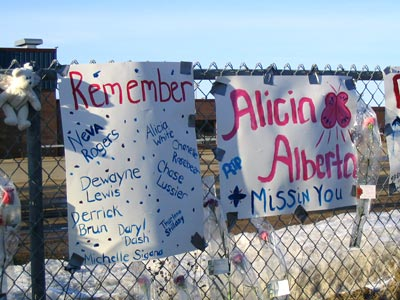 Memorial fence honoring victims of the Red Lake High School shooting